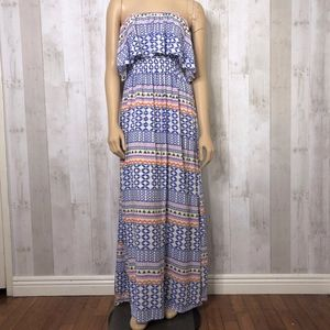Cotton On Tribal Off-Shoulder Open Back Maxi Dress